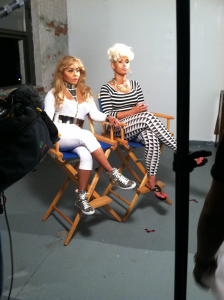 LIL KIM & TIFFANY FOXX ON SET OF BET
