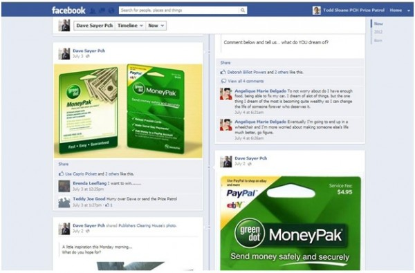 Example:  Scam account on Facebook