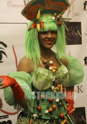 Divabetic model dressed in healthy food couture