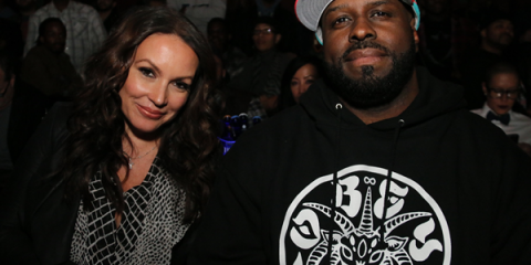 "Angie Martinez & Funkmaster Flex at VH1's ""Hot 97"" premiere event."