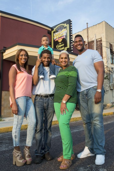 """Miss Robbie Montgomery, Tim Norman, Jenae Wallick, Charles Crenchaw and two-year-old TJ are cast members of """"Welcome to Sweetie Pie's."""""""