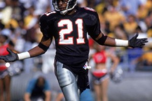 Defensive back Deion Sanders #21 of the Atlanta Falcons walks on the field during a game against the New Orleans Saints at Atlanta Fulton County Stadium on October 7, 1990 in Atlanta, Georgia.  The Falcons won 28-27.  (Photo by Scott Halleran/Getty Images)