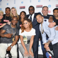 (Front) The Breakfast Club - Charlamagne Tha God, Angela Yee, DJ Envy; (Rear) Sharon Carpenter, Sibley, DJ Damage, Paige Miller, Val Boreland, Diddy, Andy Schuon, Amrit Singh, Lawrence Jackson