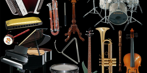 collage sheets music instruments