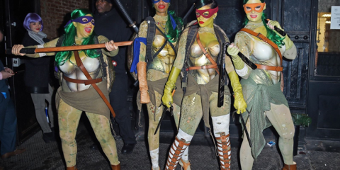 Rihanna and friends dressed as the Ninja Turtles for Halloween.