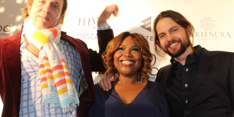 "Executive Producers Stefan Springman (Eastern TV), Mona Scott-Young (Monami Entertainment), and Toby Barraud (Eastern TV) smiling with all of their ""bankable"" glory on the red carpet."