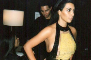 """We were making it fit! #DamnSampleSize #BalmainArmy,"" (via @kimkardashian)"