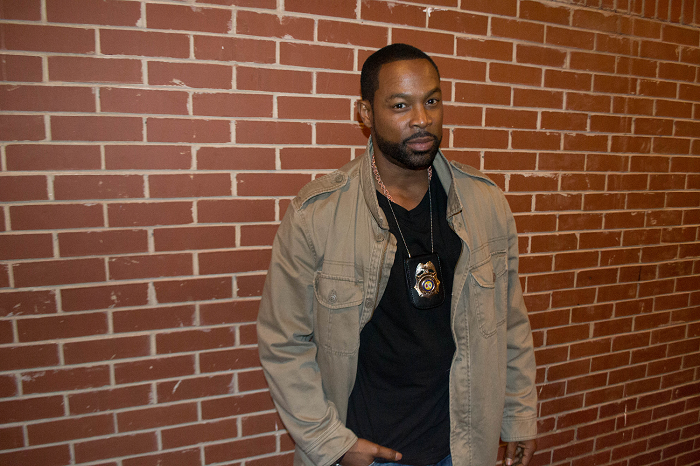 """Actor Darrin Henson (as Detective David Reynolds) on the set of """"Sons 2 The Grave."""""""