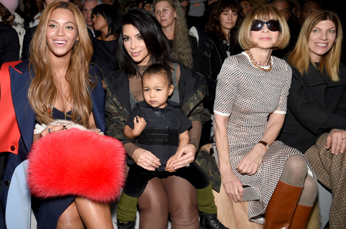 Beyonce, Kim Kardashian with daughter North, Vogue Editor Anna Wintour and Vogue's Virginia Smith. [Photo: Dimitrios Kambouris/Getty Images for adidas]