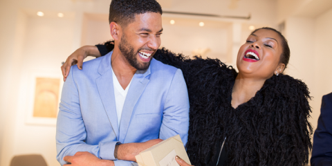 Jussie Smollett and Taraji P. Henson enjoying themselves at the Summer Sizzle BVI 2015 Launch Party.