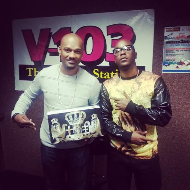 V-103's Big Tigger showing off his pair of Masculine Footwear alongside Hasan Yates, CEO
